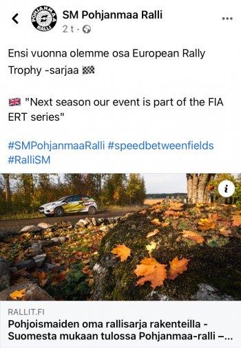 Pohjanmaa ralli on ensi vuonna osa European Rally Trophy -sarjaa