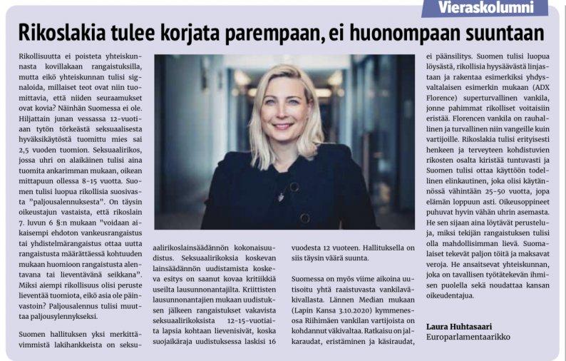 """Laura Huhtasaari Seinäjokisen vieraskolumnistina: """"Rikoslakia tulee korjata parempaan, ei huonompaan suuntaan"""""""