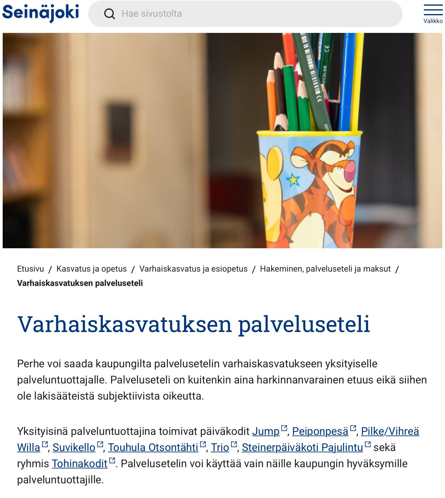Päivähoidon palveluseteli Seinäjoella 1120 euroa, Espoossa 870 euroa