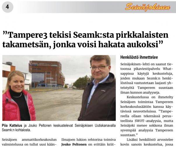 Seinäjoen ammattikorkeakoulun ja Tampereen korkeakoulusäätiön väliset neuvottelut huolestuttavat pääluottamusmiehiä. Lue kannanotto!