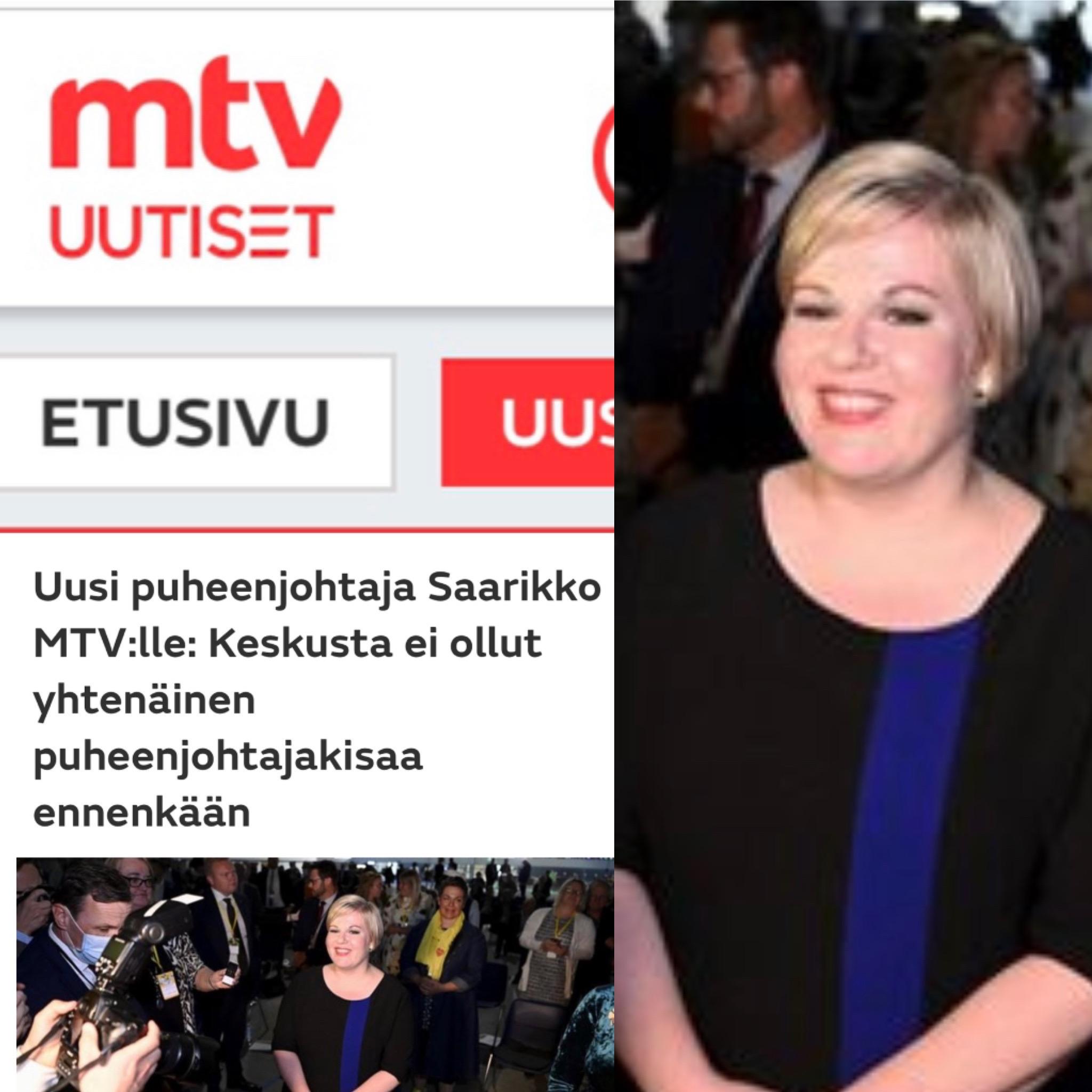 Oliko tiede- ja kulttuuriministeri Annika Saarikon sinimustassa mekossa piiloviesti keskustan puoluekokouksessa Oulussa?