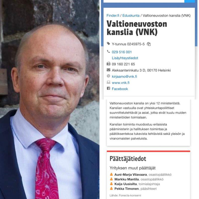 Markku Mantilan nimi edelleen Valtioneuvoston kanslian päättäjätiedoissa